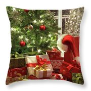 Brightly Lit Christmas Tree With Lots Of Gifts Throw Pillow by Sandra Cunningham