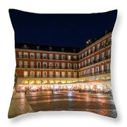 Brightly Lit Midnight - Plaza Mayor In Madrid Spain Throw Pillow
