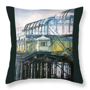 Brighton's West Pier-lone Survivor Throw Pillow