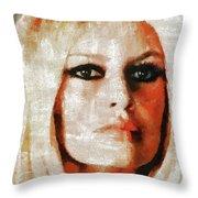 Brigitte Bardot By Mary Bassett Throw Pillow