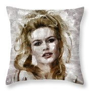 Brigitte Bardot, Vintage Actress Throw Pillow