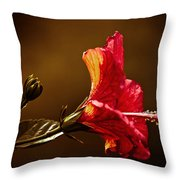Brilliant Hibiscus Throw Pillow