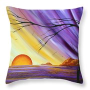 Brilliant Purple Golden Yellow Huge Abstract Surreal Tree Ocean Painting Royal Sunset By Madart Throw Pillow
