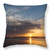 Brilliant Toronto Skyline Sunrise Over Lake Ontario Throw Pillow