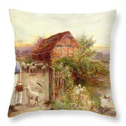 Bringing Home The Sheep Throw Pillow by Ernest Walbourn