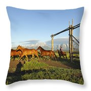 Bringing In The  Remuda Throw Pillow