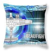 Bristol Beaufighter Blueprint Throw Pillow