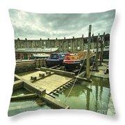 Bristol Barge Dry Dock  Throw Pillow