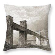 Britannia Bridge Across Menai Strait Throw Pillow