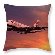 British Airways A380 G-xlef Throw Pillow