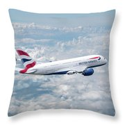 British Airways Airbus A380-841 Throw Pillow