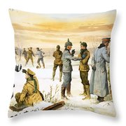 British And German Soldiers Hold A Christmas Truce During The Great War Throw Pillow