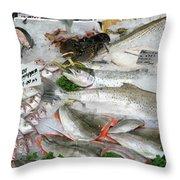British Fish Market Throw Pillow