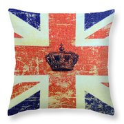 British Flag And Royal Crown Throw Pillow