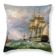 British Men-o'-war Sailing Into Cork Harbour  Throw Pillow