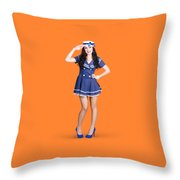 British Navy Blue Pin Up Girl Saluting Throw Pillow