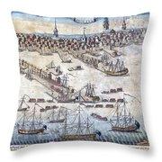 British Ships Of War, Landing Troops Throw Pillow