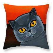 British Shorthair Throw Pillow by Leanne Wilkes
