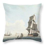 British Single Decker Off The Coast Throw Pillow