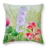 British Wild Flowers Throw Pillow
