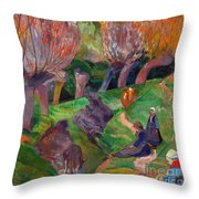 Brittany Landscape With Cows Throw Pillow