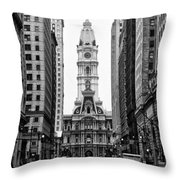 Broad Street At City Hall Throw Pillow
