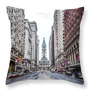 Broad Street Facing City Hall In Philadelphia Throw Pillow