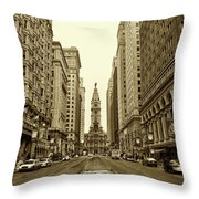 Broad Street Facing Philadelphia City Hall In Sepia Throw Pillow