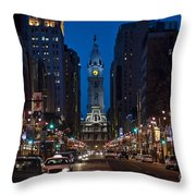 Broad Street Throw Pillow by John Greim