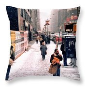 Broadway And 42nd Street 1985 Throw Pillow