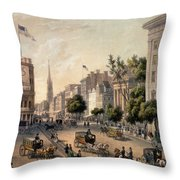 Broadway In The Nineteenth Century Throw Pillow by Augustus Kollner
