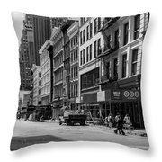 Broadway, New York In Black And White Throw Pillow