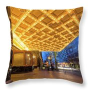 Broadway Theater Marquee Lights In Downtown Throw Pillow
