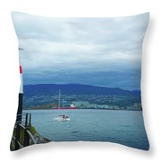 Brockton Point Lighthouse In Stanley Park Throw Pillow