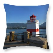 Brockton Point Lighthouse In Vancouver Bc Throw Pillow