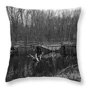 Broken Bridges In Black And White Throw Pillow