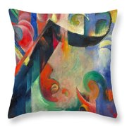 Broken Forms By Franz Marc Modern Bright Colored Painting  Throw Pillow