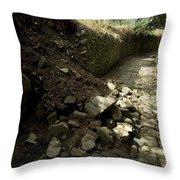Broken Stone Wall Cascades Stones Throw Pillow