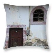 Broken Window And Wood Door Throw Pillow