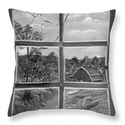 Broken Window In Black And White Throw Pillow