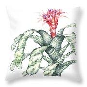 Bromeliad Aechmea Fasciata Throw Pillow