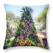 Bromeliad Christmas Tree At Pinewood Estate, Bok Tower Throw Pillow