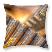 Bromo Seltzer Tower's 1911 Seth Thomas Clock Mechanism Abstract #12 Throw Pillow