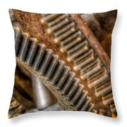 Bromo Seltzer Tower's 1911 Seth Thomas Clock Mechanism Abstract #7 Throw Pillow