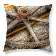 Bromo Seltzer Tower's 1911 Seth Thomas Clock Mechanism Abstract #8 Throw Pillow