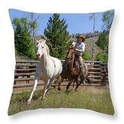 Bronc Roper Throw Pillow