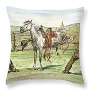 Bronco Busters Throw Pillow