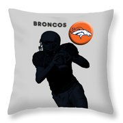 Broncos Football Throw Pillow