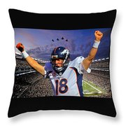 Broncos Win Super Bowl Fifty Throw Pillow