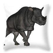 Brontotherium Isolated On White Throw Pillow